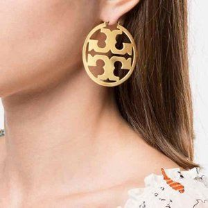 Tory Burch Fashion Gold Logo Vintage Earrings